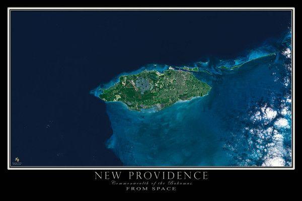 New Providence Island Bahamas Satellite Map  Ocean depth Nassau