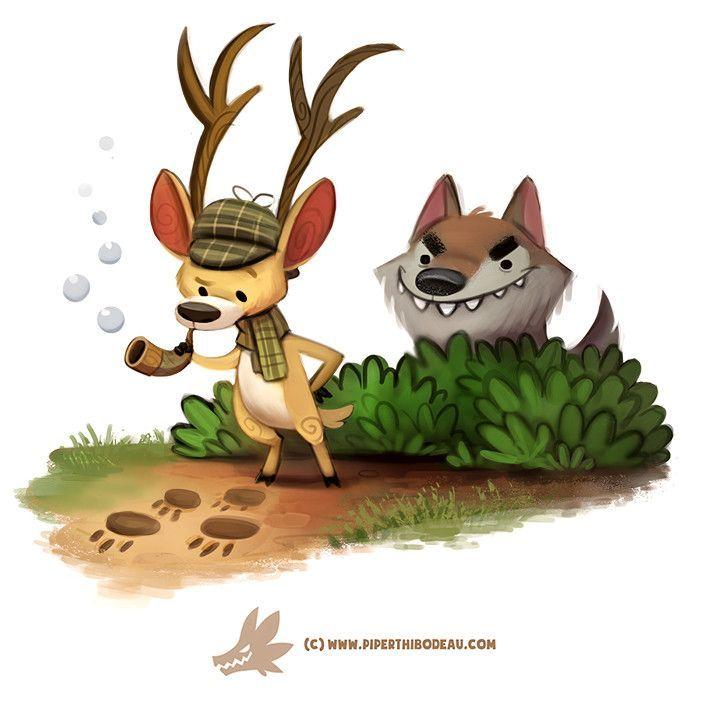Artstation Daily Paint 1303 Deerstalker Piper Thibodeau Cute