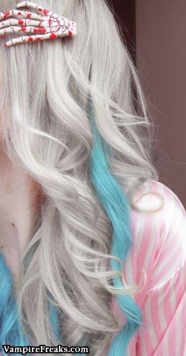 White Hair Pastel Blue Stripe Skeleton Hair Clip Hair Color