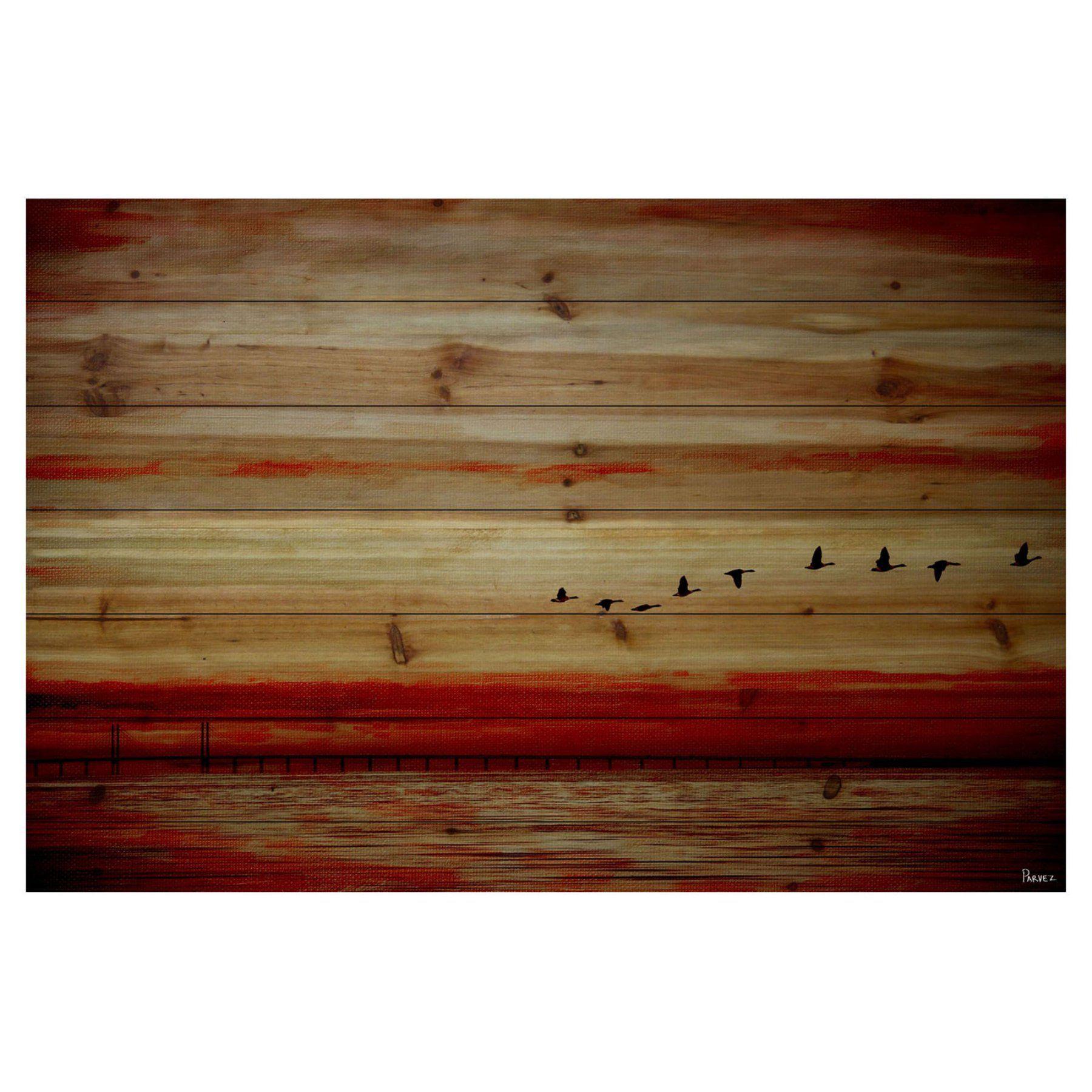 Parvez Taj American Dream Painting Print On Natural Pine: Parvez Taj Flying South Painting Print On Natural Pine