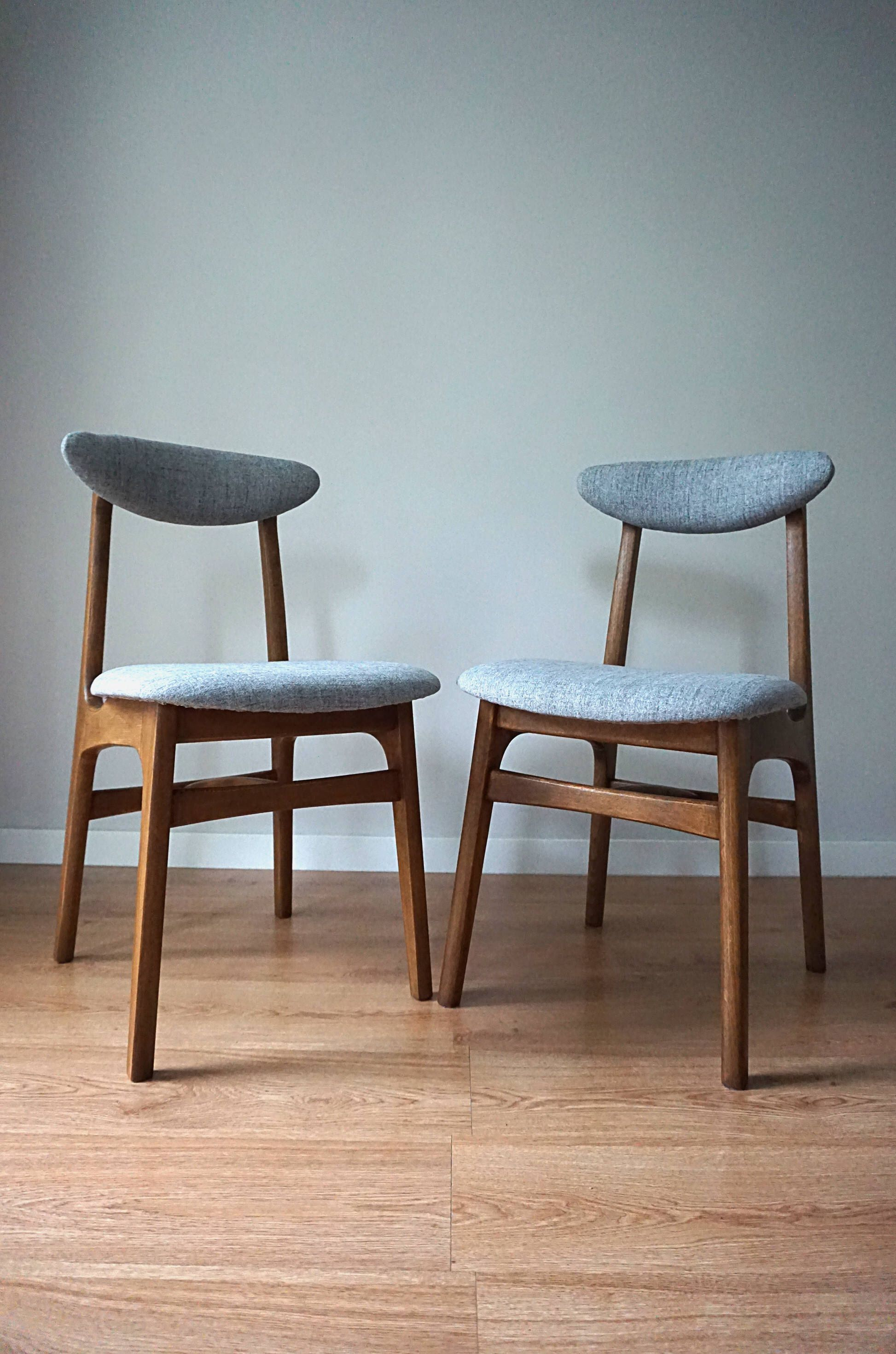 Pair Of Rare Vintage Mid Century Danish Modern 60s Chairs Retro Polish Dining Chair Scandinavian Design
