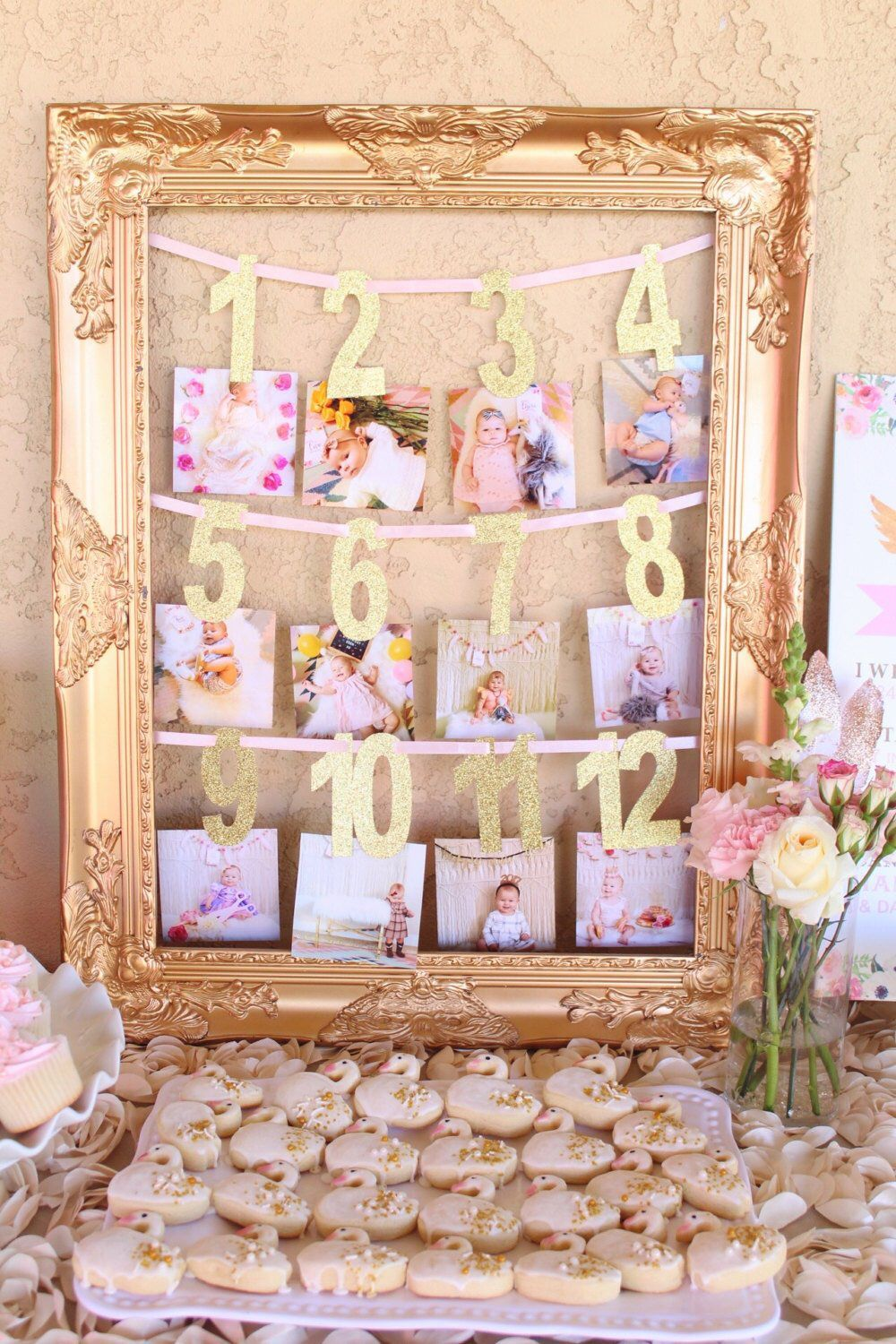 Photo of First Year Photo Banner |  Milestone Banner  |  Baby's First Birthday Banner  |  Gold First Year Photo Banner  | Monthly Photo Banner