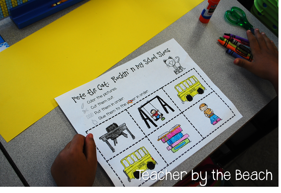 Pete the Cat. sequence events in rockin\' in my school shoes ...