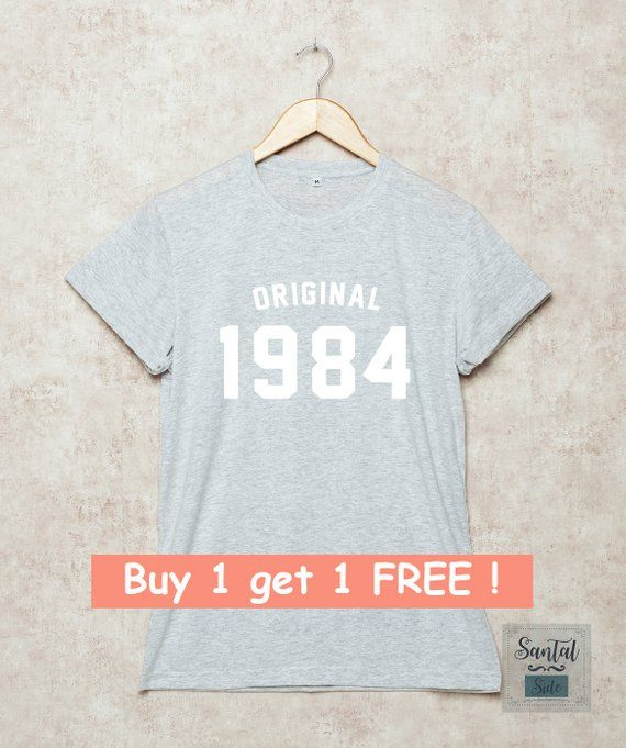 34th Birthday Shirt Original 1984 Shirts Tshirts 80s T 34 Gift For Her Grey White Black