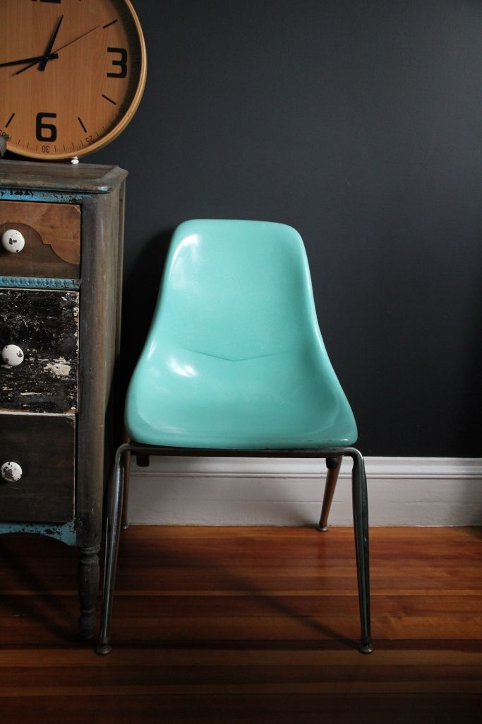 I love this color. Mid-Century Fiberglass Side Chair