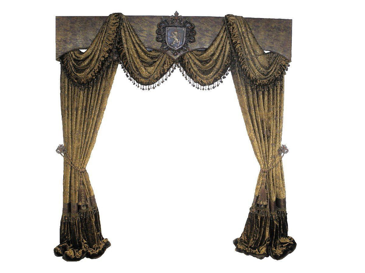Cornice Board With Swags And Decorative Curtain Panels Available