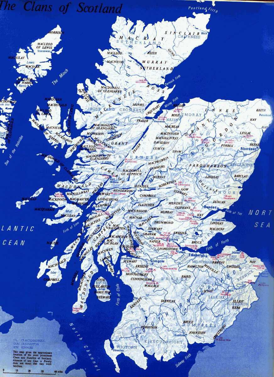 Map of Scotland and places of surnames