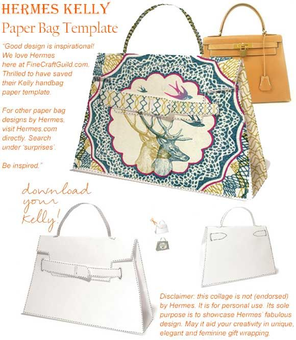 Rare Kelly Handbag Is 24 000 But Paper Model Is Free Gift Bag Templates Gift Bags Paper Gift Bags