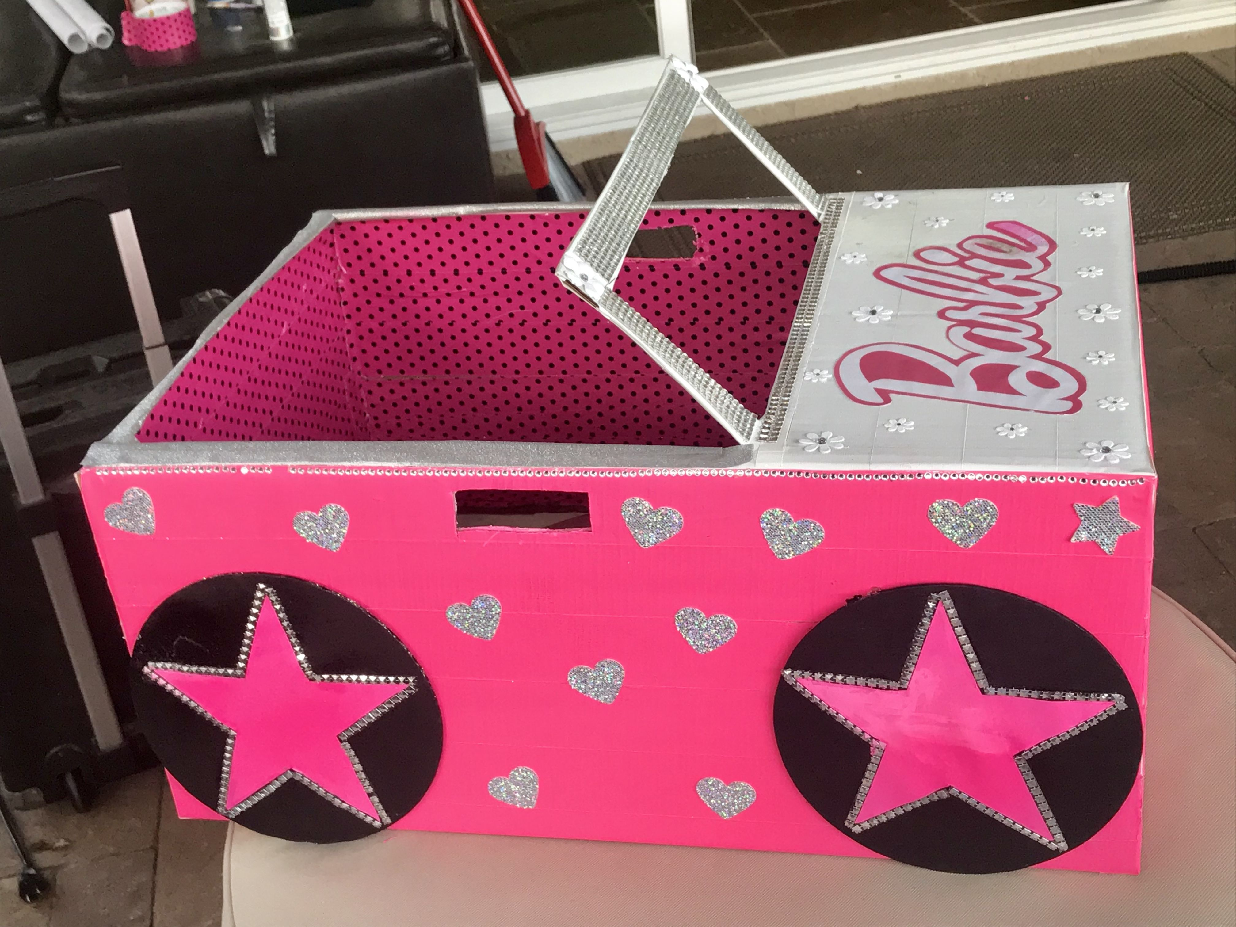 Barbie Cardboard Box Car. Made This For My Daughters Kindy