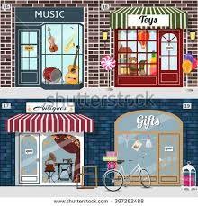 Resultado de imagen de fachadas tiendas antiguas españolas ilustraciones
