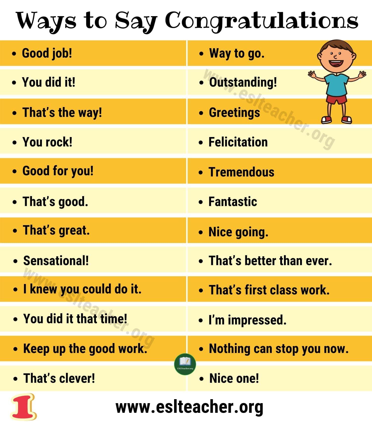 Congratulations Synonym 50 Creative Ways To Say Congratulations Esl Teacher Ways To Say Congratulations Say Congratulations Book Writing Tips