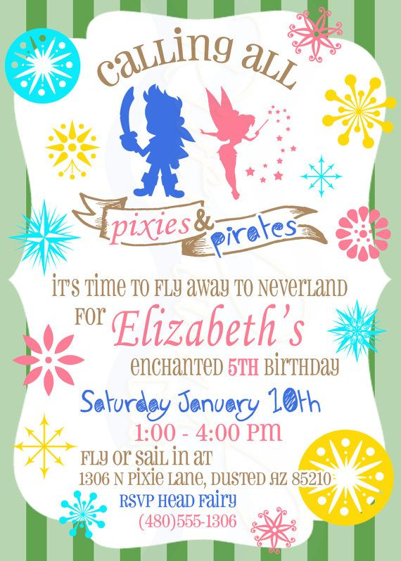 pixie pirate birthday invitation printable digital pirates and