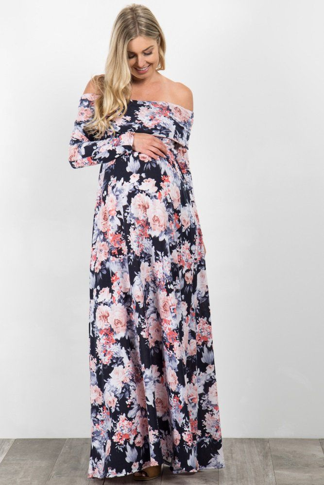 48be8729912f This season is the perfect time to put on this gorgeous floral maternity  maxi! This off shoulder long sleeve maternity maxi dress will give the  comfy, ...