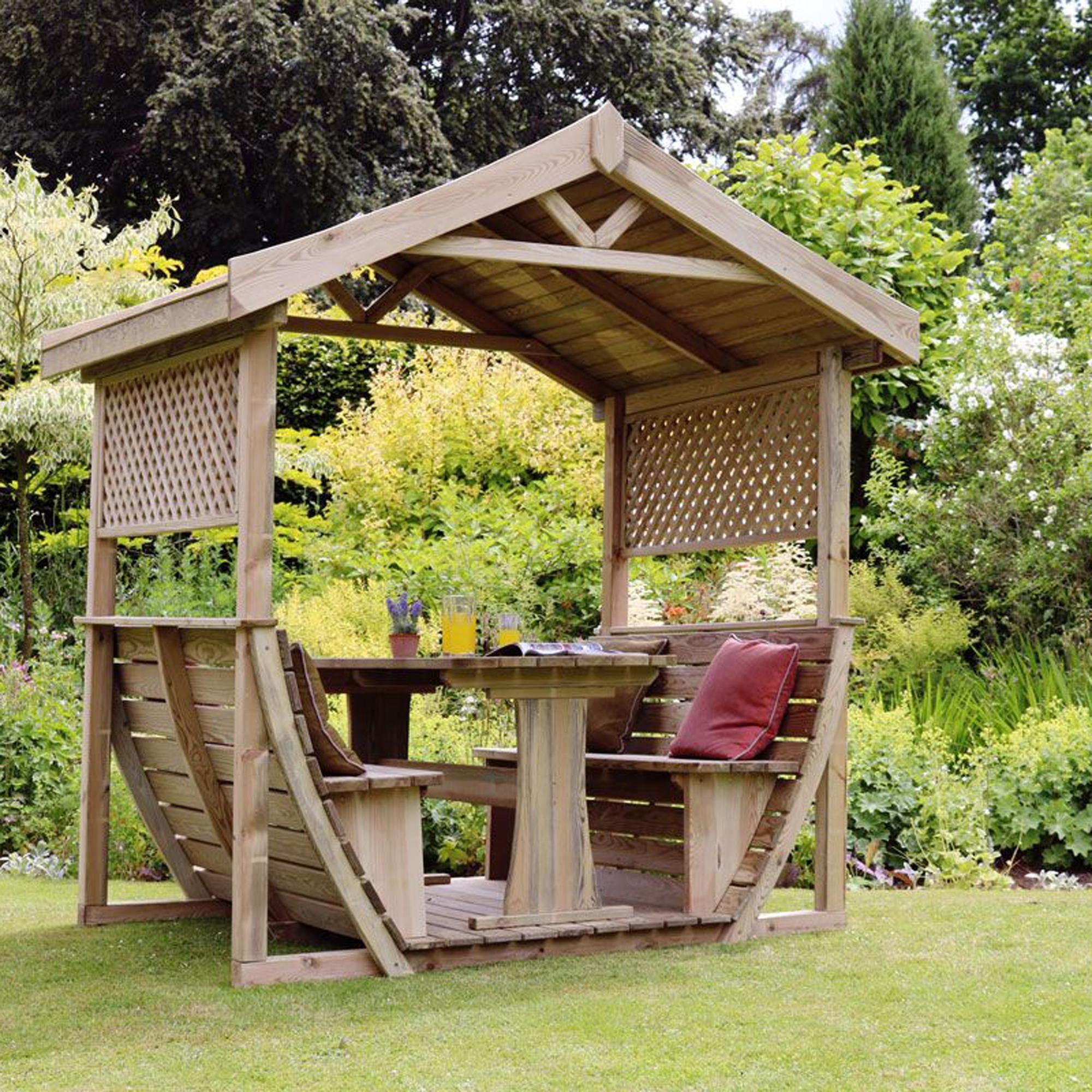 Dunelm Wood Brown 216x178x236cm Noah S Arbour Garden Arbour Seat Arbour Seat Wooden Arbor