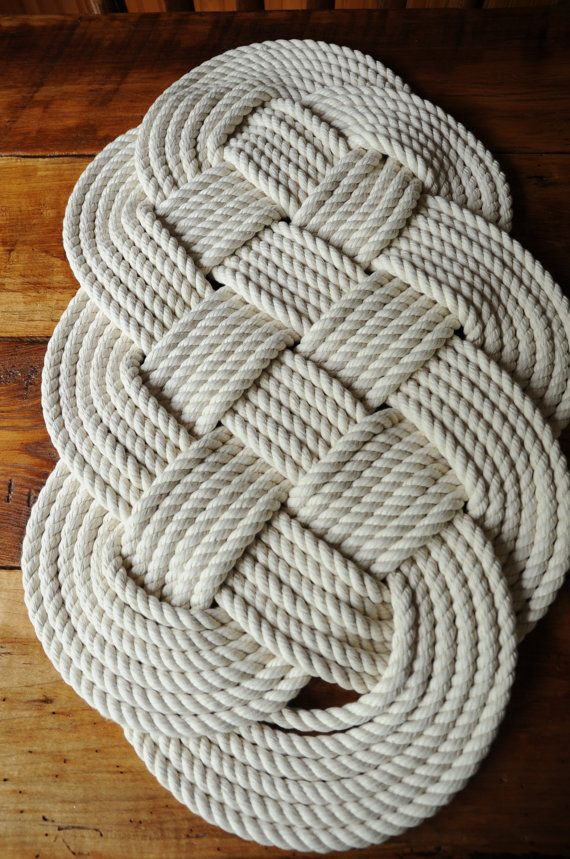 Nautical decor cotton rope bath mat 29 x 16 by oyknot on for Rope bath mat