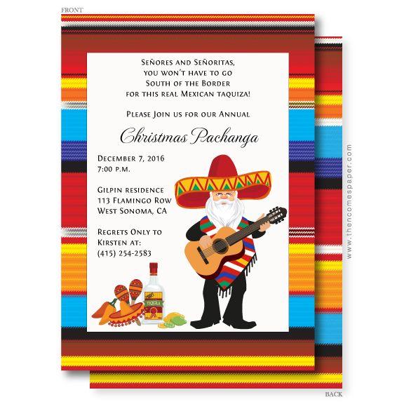 Mariachi Santa Christmas Invitation Christmas Fiesta Christmas Invitations Mexican Christmas Traditions