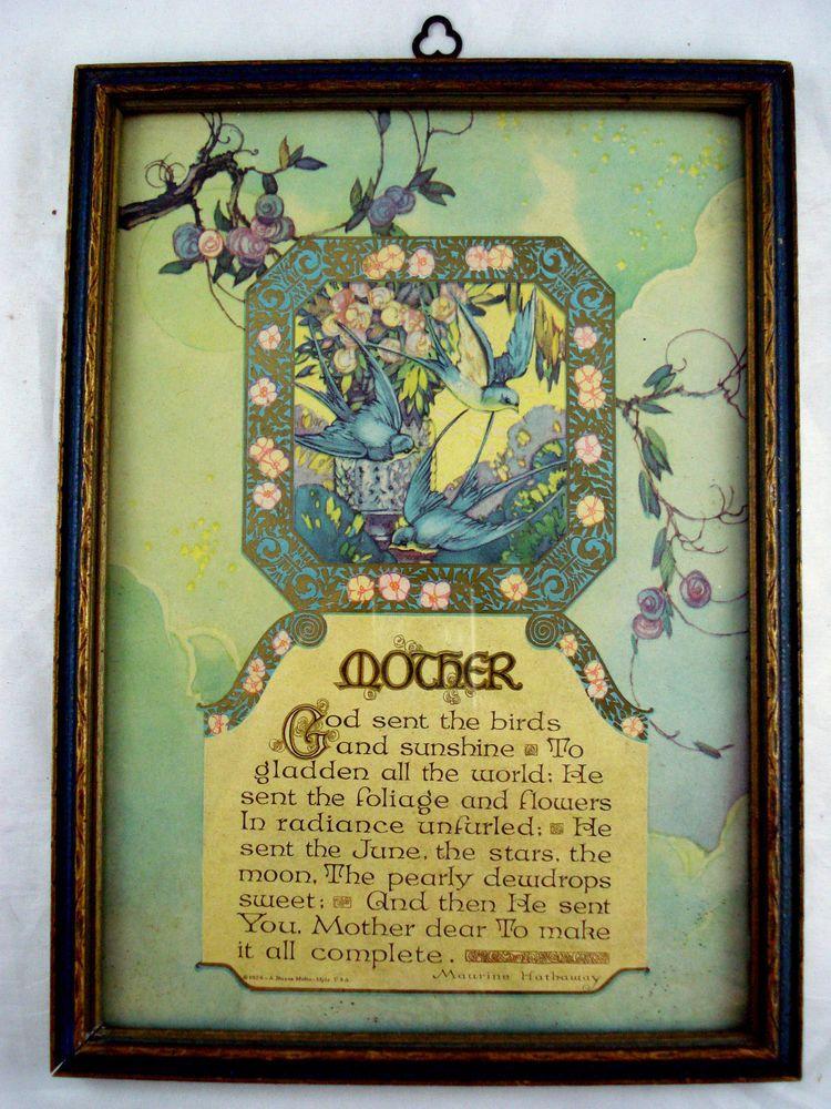1924 all original 7x10 Buzza Motto art deco Mother w Blue Birds Maurine Hathaway #ArtDeco