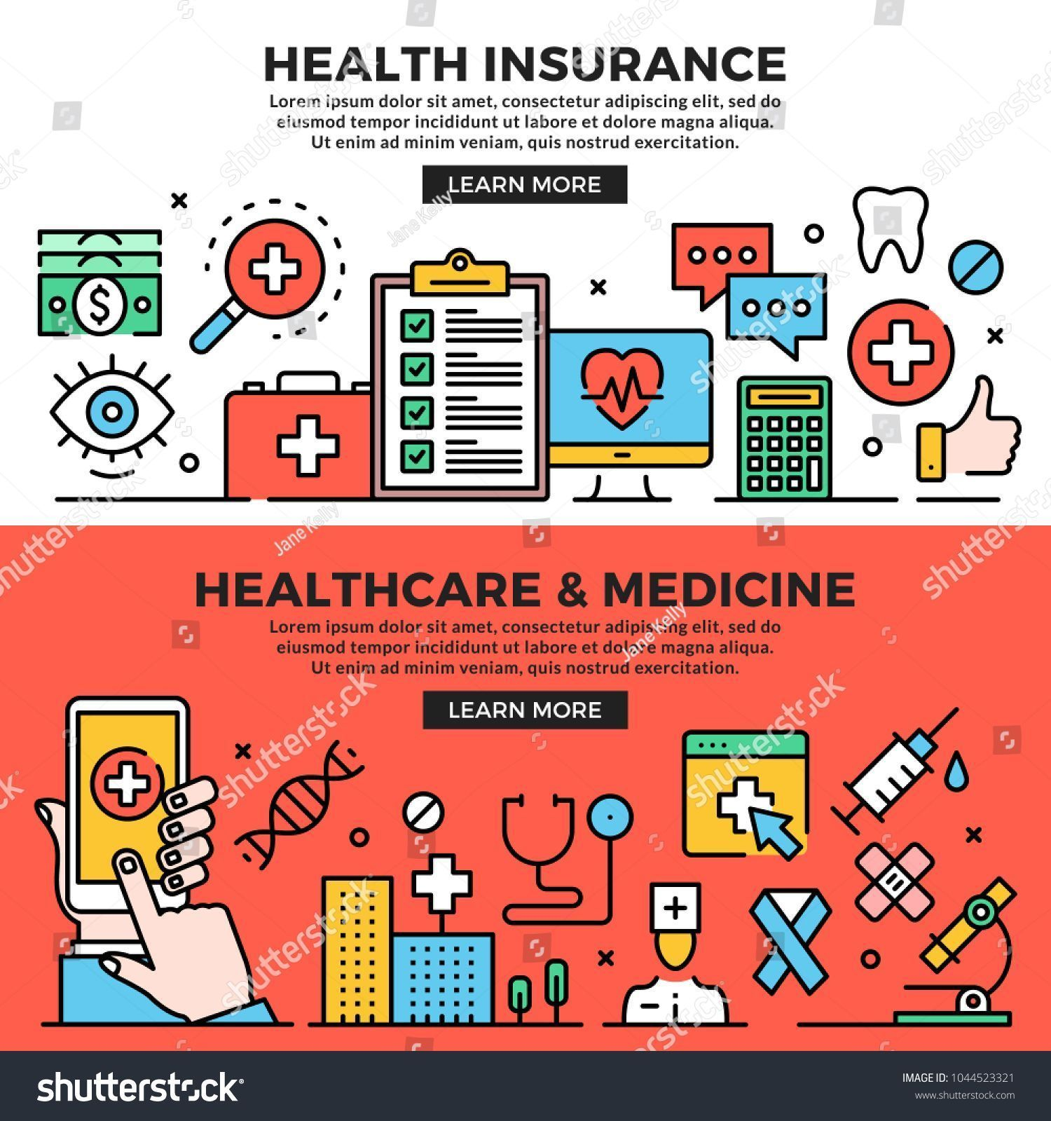 Best Photo Health Insurance Healthcare Medicine Web Banners Stock Vector Royalt Best Photo Health Insur In 2020 Health Insurance Best Health Insurance Health Care