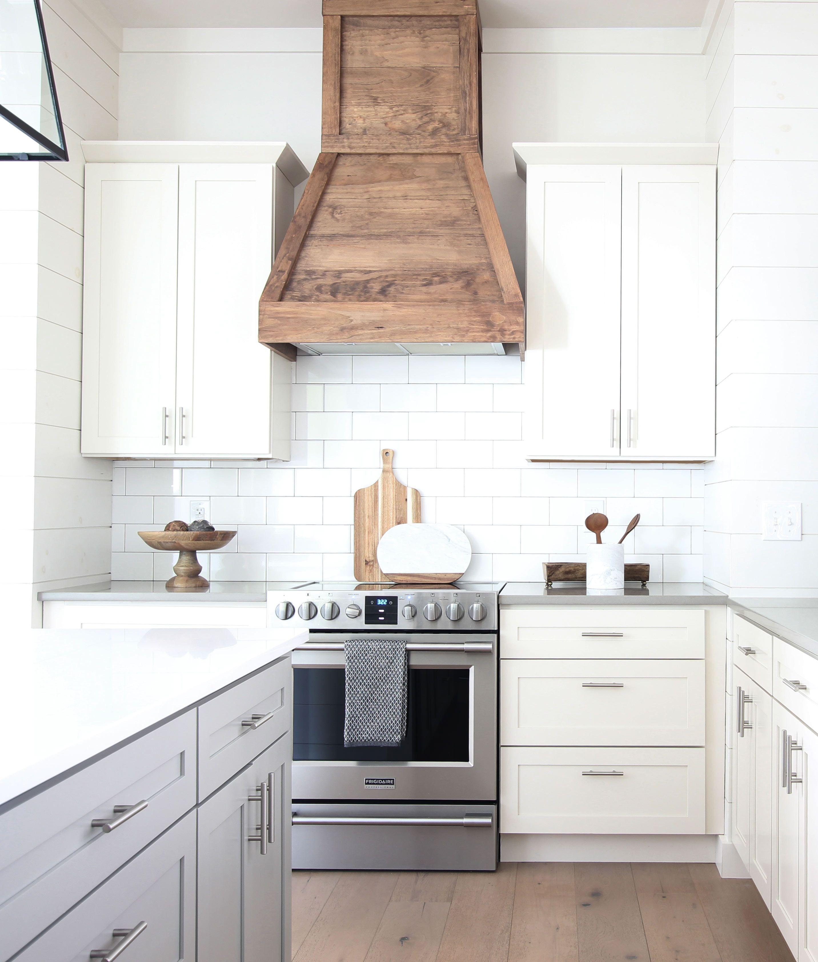 How To Build A Farmhouse Wood Range Hood Plank And Pillow Kitchen Renovation Kitchen Range Hood Kitchen Remodel