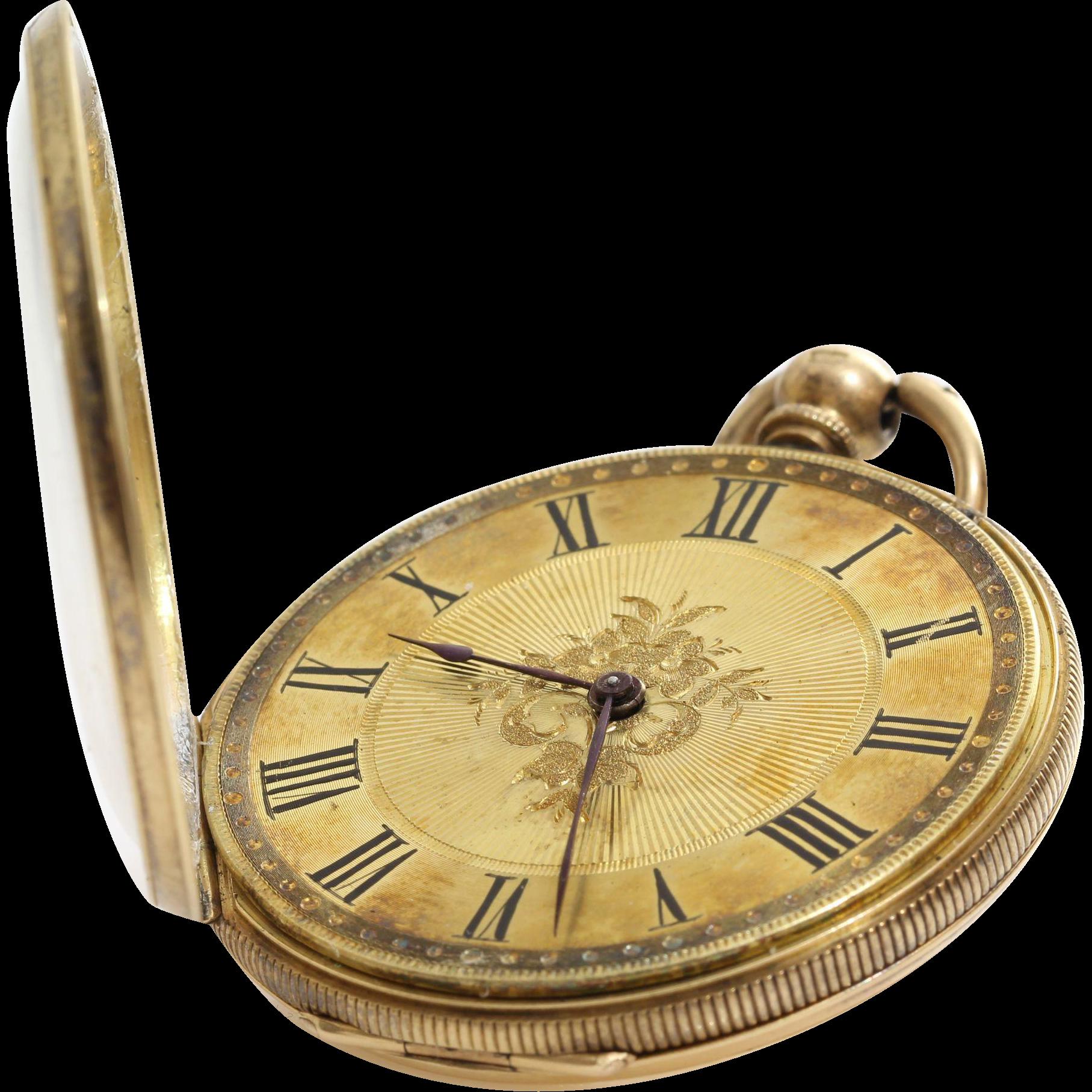 Antique Gold Pocket Watch 18k Open Face Key Wind Roman Numerals Pocket Watch Antique Gold Pocket Watch Pocket Watch