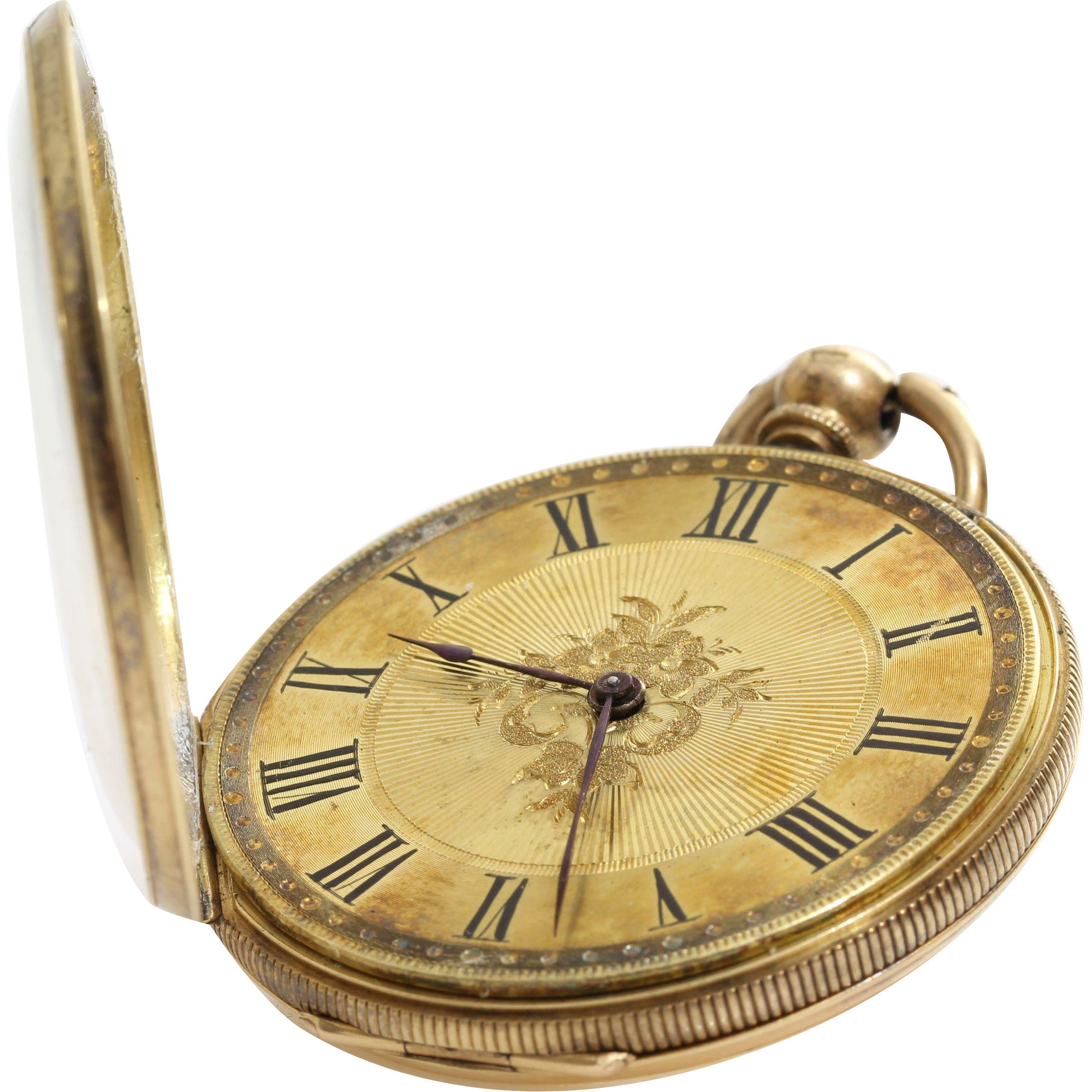 Antique gold pocket watch 18k open face key wind roman numerals open face pocket watch for Vintage gold watch