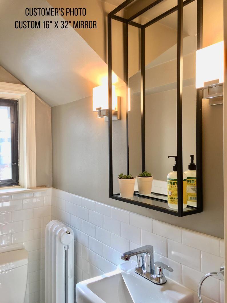 Bathroom Shelf Mirror Modern Industrial Black Steel Metal Etsy In 2021 Bathroom Mirror With Shelf Framed Bathroom Mirror Bathroom Mirror