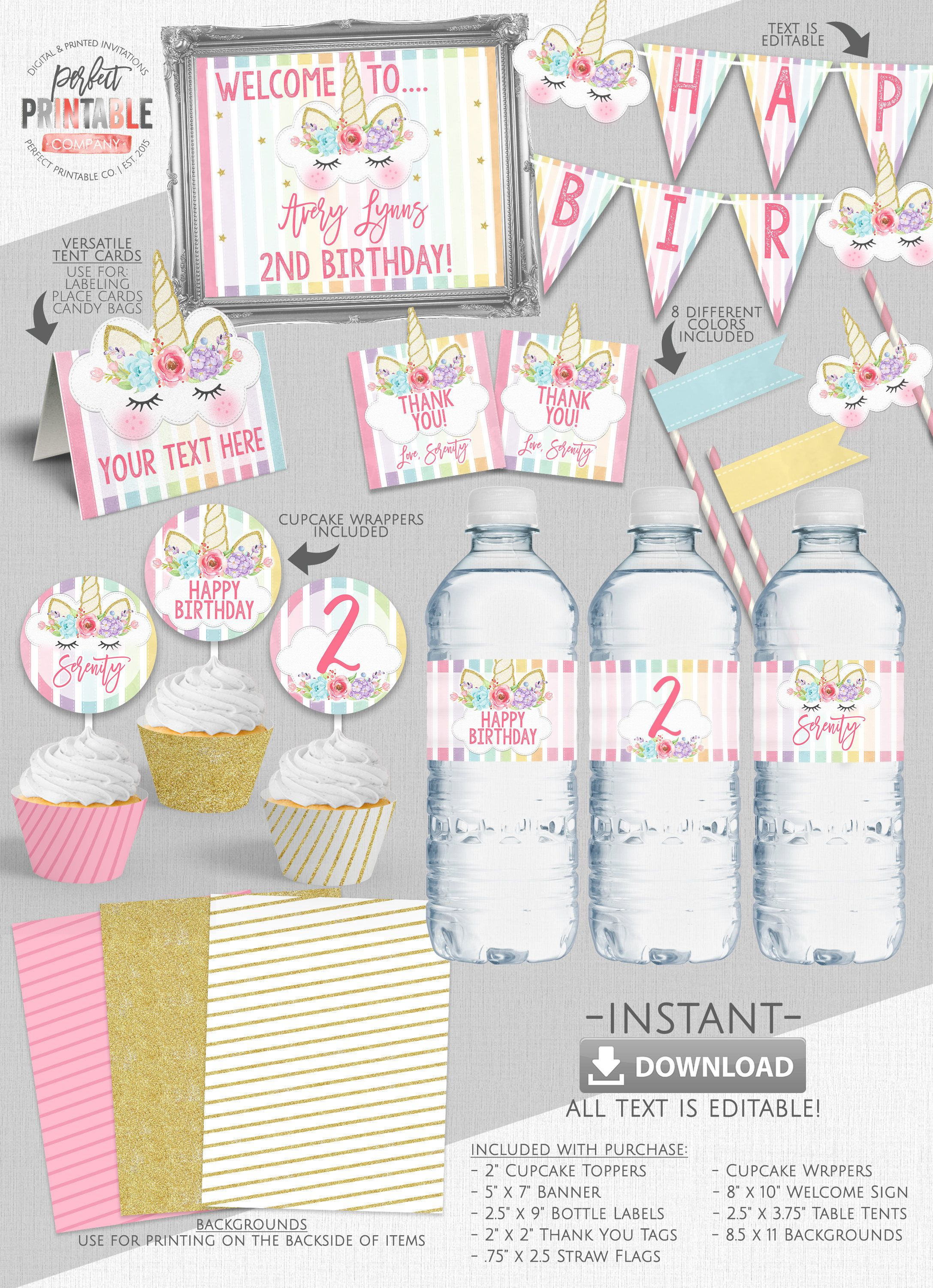 Unicorn Party Pack Kit Birthday Package Horn Gold Pastel Printable Instant Download Editable PDF File 736 By