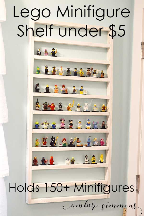 lego minifigure shelf for under five dollars ordnungsideen pinterest lego kinderzimmer. Black Bedroom Furniture Sets. Home Design Ideas