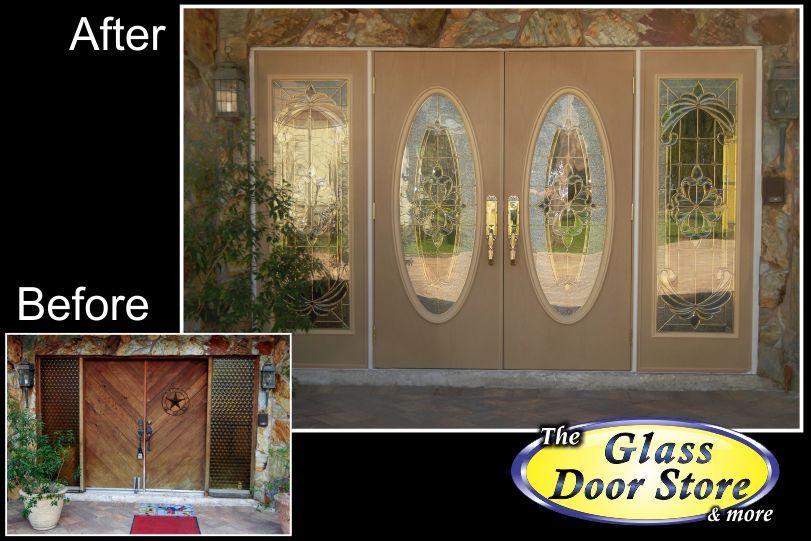 Modern glass door insert in single front door with stonework ...