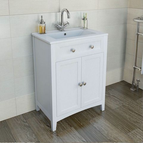 The Bath Co Camberley White Floorstanding Vanity Unit And Ceramic Basin 600mm Bathroom Vanity Units Bathroom Sink Vanity Bathroom Sink Vanity Units