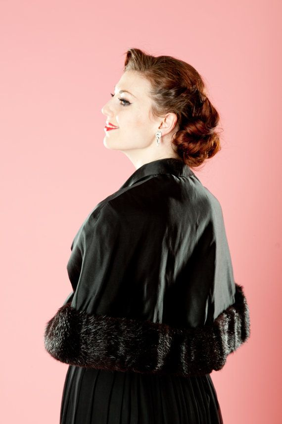 Vintage 1950s Black Mink Wrap Satin Stole $195.00 #vintage #mink #fur #wrap #wedding #winter