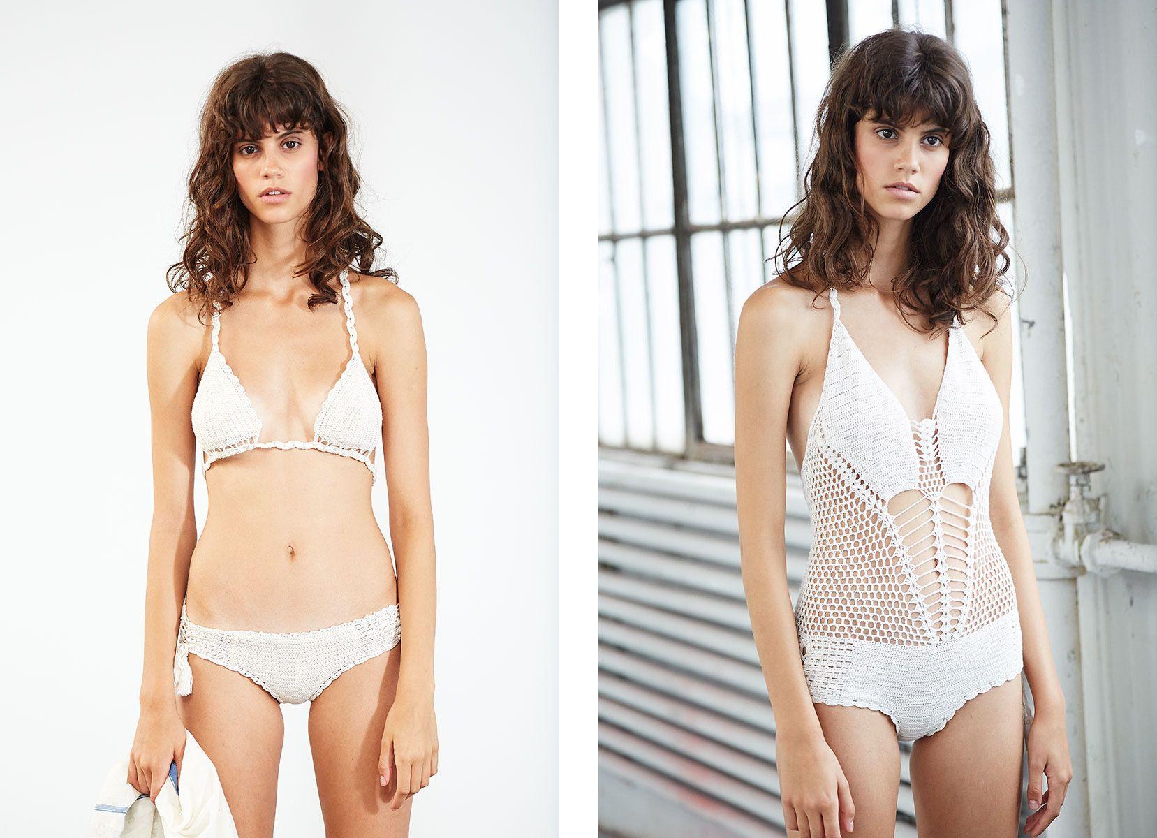 9ace044f8c Ulla Johnson Spring 2015 Cala Crochet Bikini and Palma Maillot Crochet One  Piece Swimwear Bathing Suit White Crochet Swim