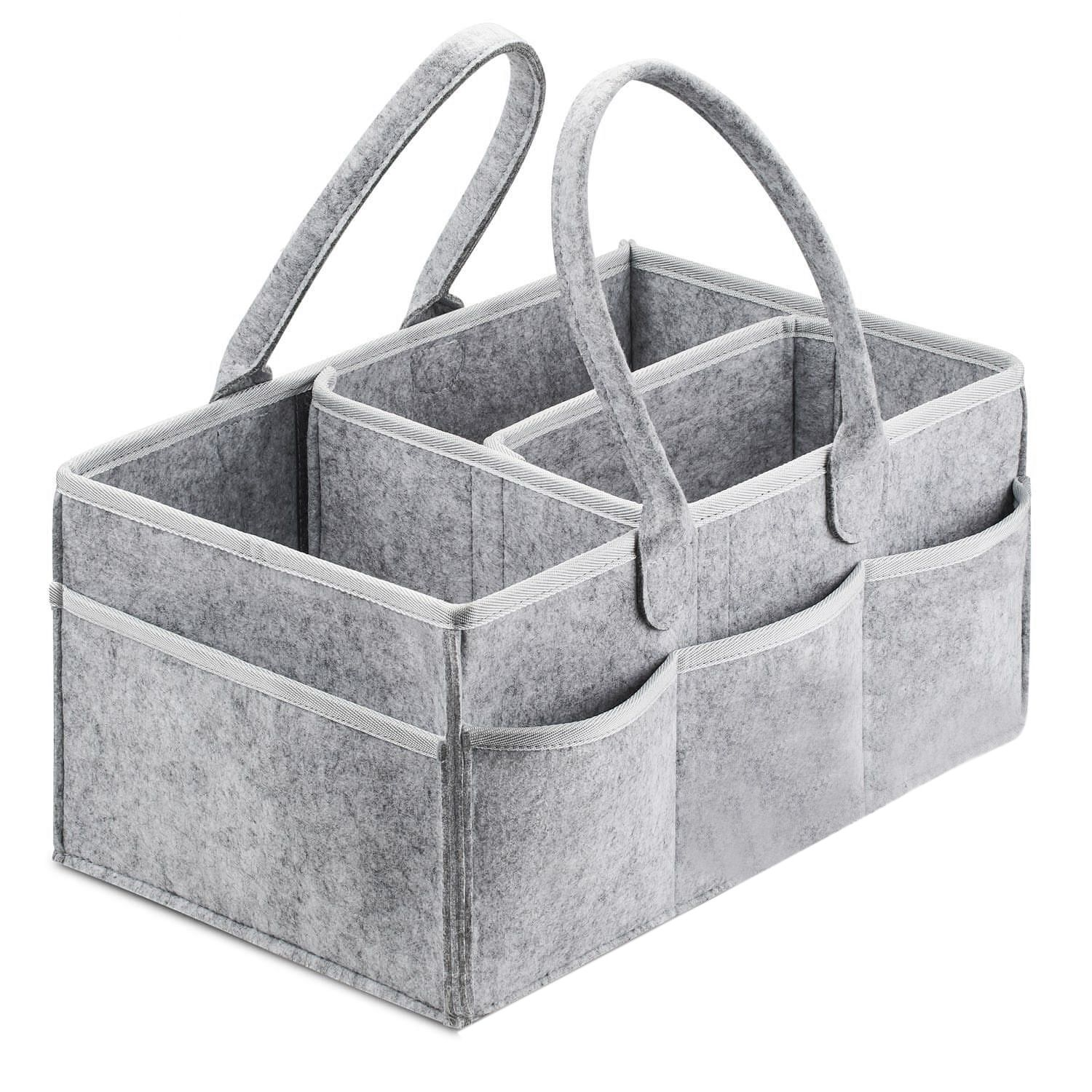 Gray Baby Diaper Wipes Storage Bag Caddy Nursery Infant Nappy Organizer Basket