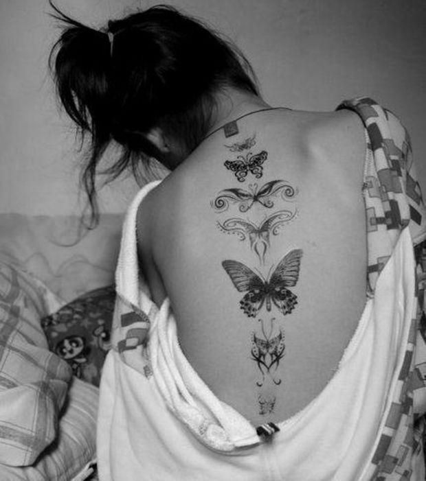 Tatuaje De Mariposas En La Espalda Para Mujer Tatuajes Mariposa