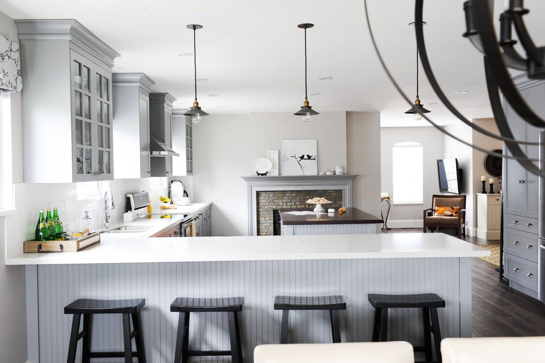 Interior Design Maple Ridge Gray Kitchen Wood Counter Top Bc By Jil Sonia Mcdonald Kitchen Recessed Lighting Interior Design Kitchen Interior Design