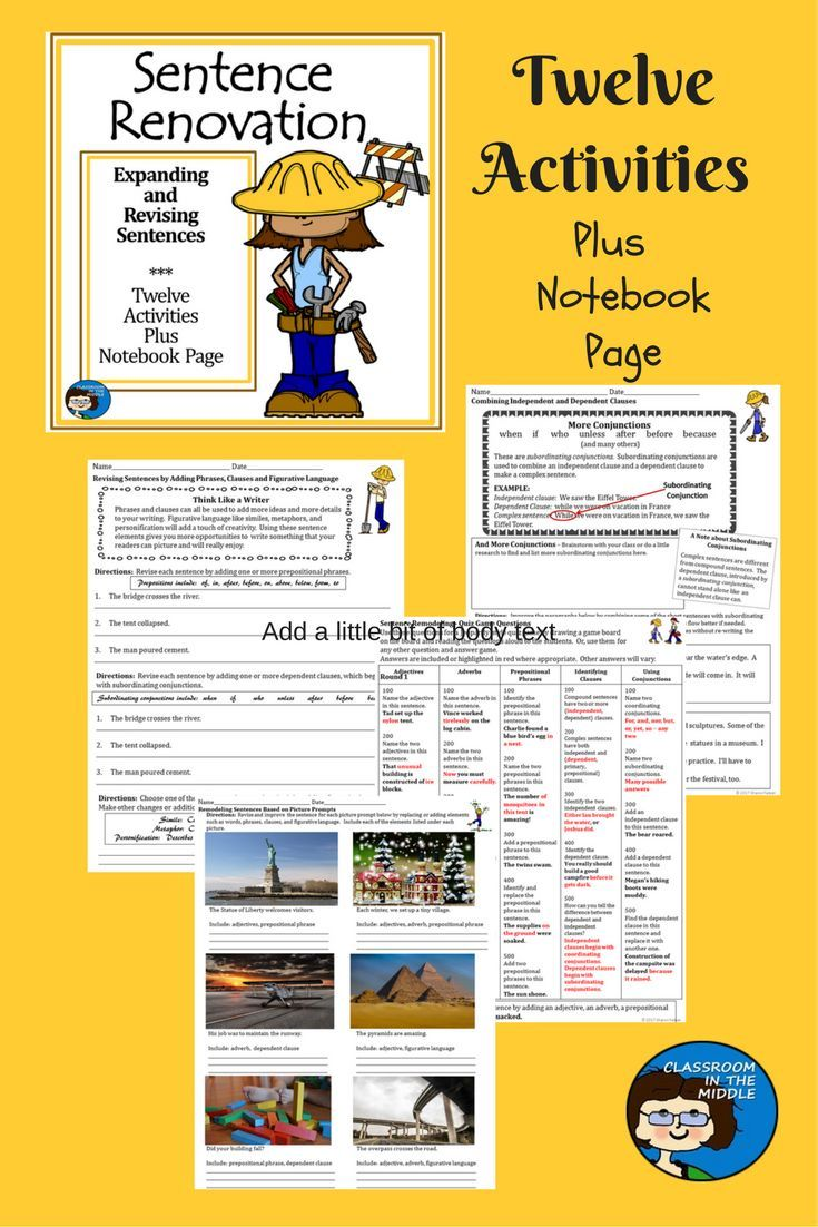 Activities for expanding revising and writing sentences