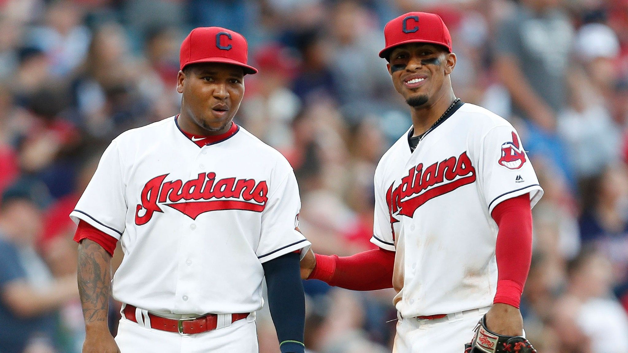 Cleveland Indians Francisco Lindor And Jose Ramirez During The Game Against The New York Yankees At Progres Indians Baseball Cleveland Indians New York Yankees