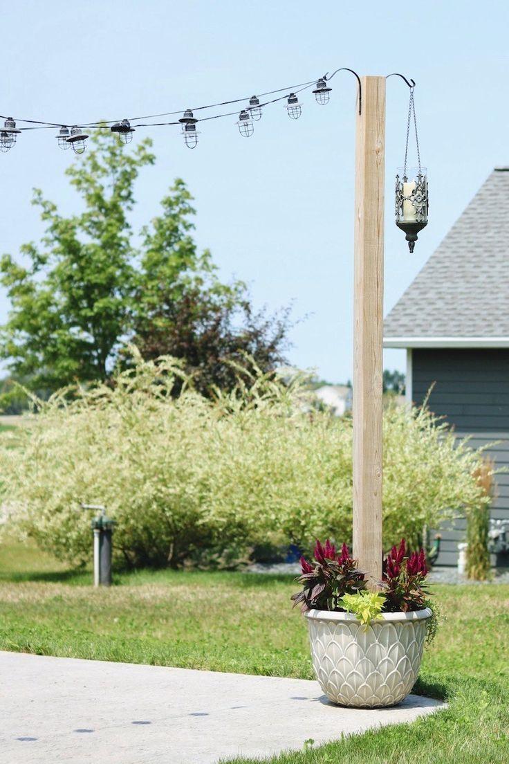 DIY Planter Posts for String Lights - Backyard Patio Ideas - SUGAR MAPLE notes