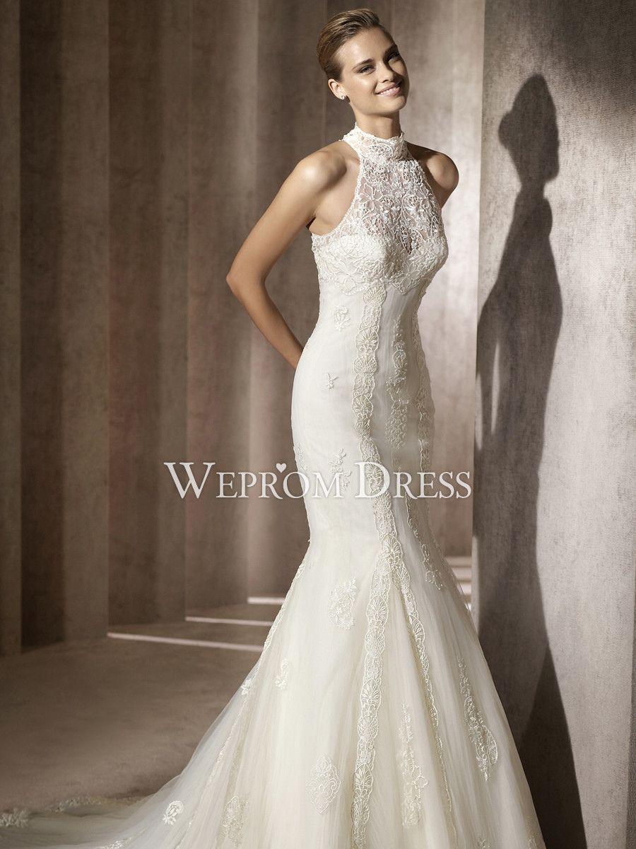 Rent designer wedding dress   Lace High Collar Wedding Dress  Cute Dresses for A Wedding
