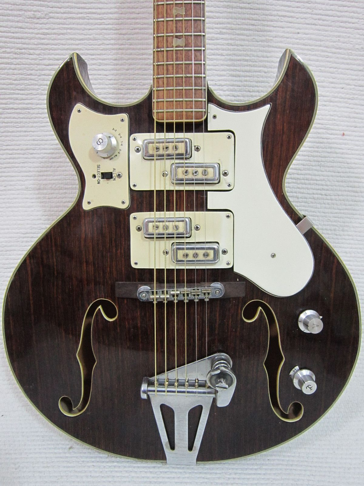 Vintage 1960s Teisco Norma Split Pickups RARE faux Woody