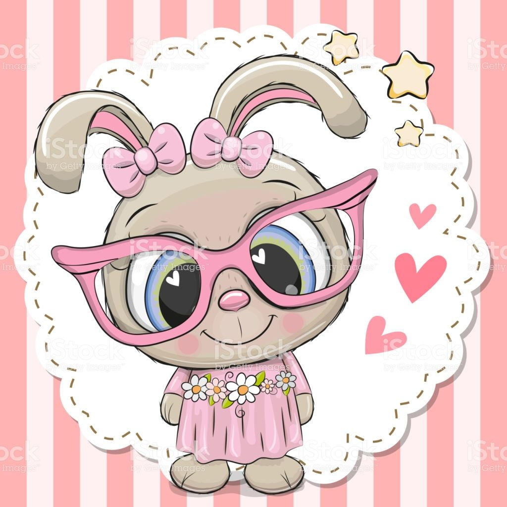 Cute cartoon Rabbit girl in pink eyeglasses with a bow