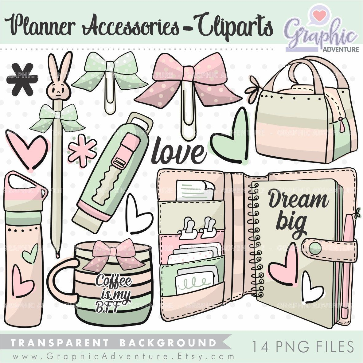 Planner Accesories Clipart, Planner Clipart, Coffe Cup ...