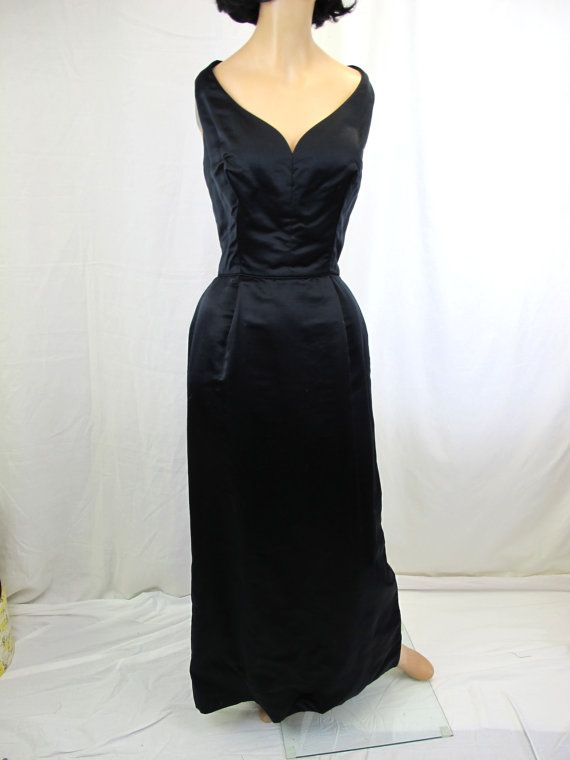 1950s Black Silk Bombshell Evening Gown by tovasvintage on Etsy