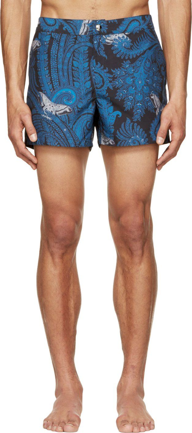 fc6608b95c934 Givenchy Blue Paisley & Butterfly Print Swim Shorts | Mens Clothes ...