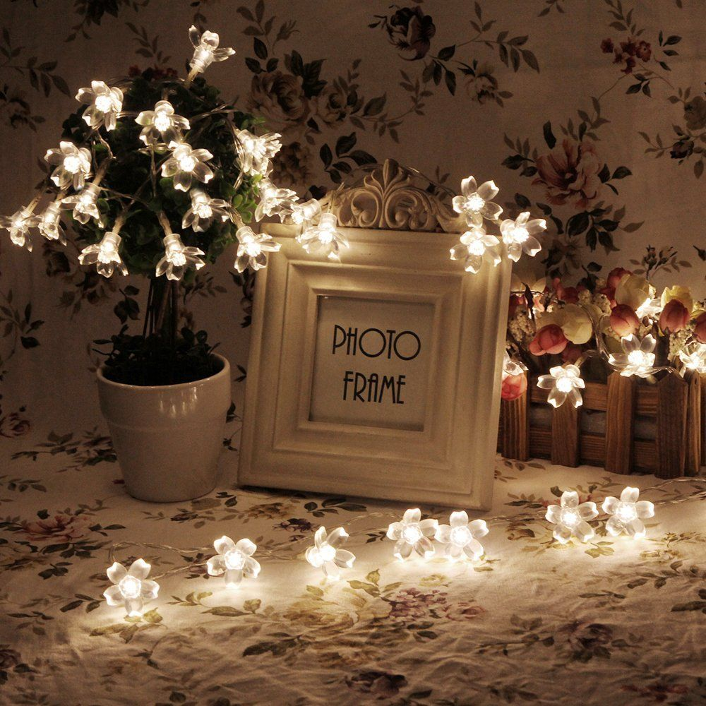 InnooTech Led Sakura Battery Operated String Fairy Light Flower Outdoor  Indoor Christmas Tree Light Warm White 40 Led For Wedding Party Bedroom  Decoration