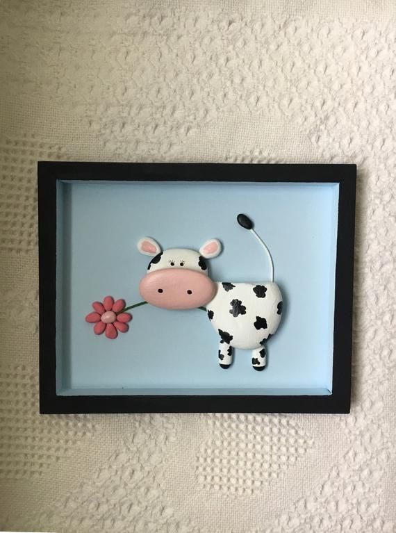 Cow decor, cow art, cow pebble art framed, nursery decor, kid's room wall art, baby shower gift, office wall decor, cow lover unique gift