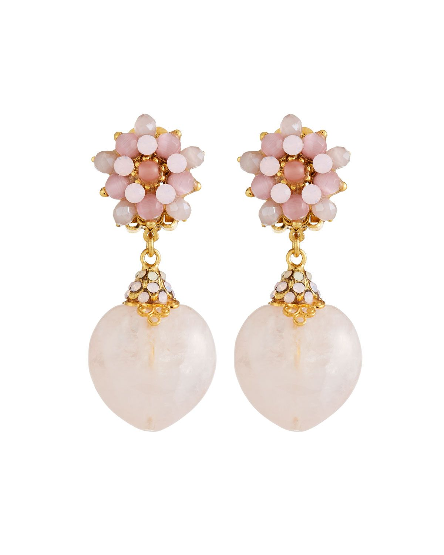 Jose & Maria Barrera Pink Opal Cabochon Hoop Drop Clip-On Earrings H9EHzBylL