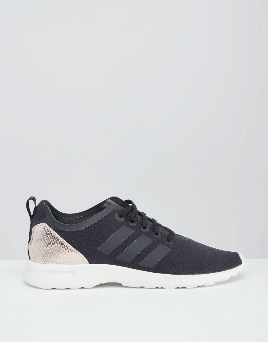 a48bc4494 uk image 2 of adidas originals zx flux smooth black gold trainers 216ab  b0556