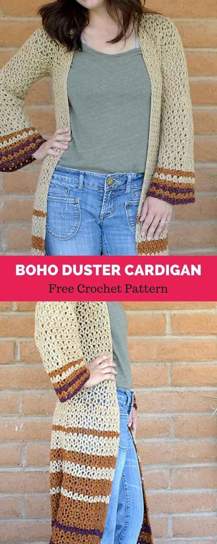 Boho Duster Cardigan [ FREE CROCHET PATTERN | Crochet blouse/tops ...