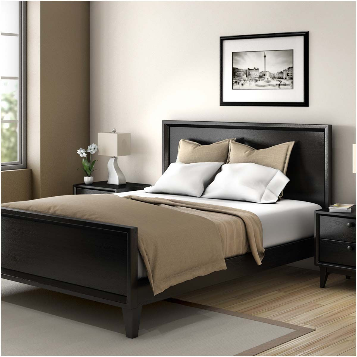 Modern Simplicity Mocha Solid Wood Platform Bed w Foot